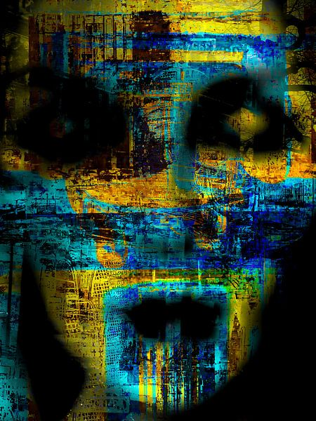 The abstract face in yellow and blue van Gabi Hampe