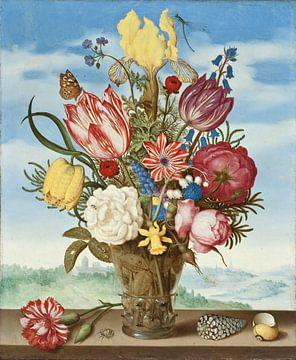 Ambrosius Bosschaert. Bloemen in een vaas, 1623 van 1000 Schilderijen