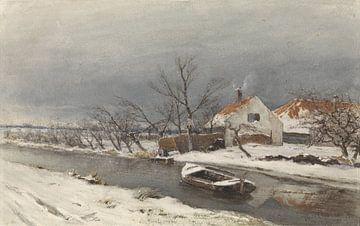 Winterlandschaft mit Häusern an einem Kanal, Louis Apol,