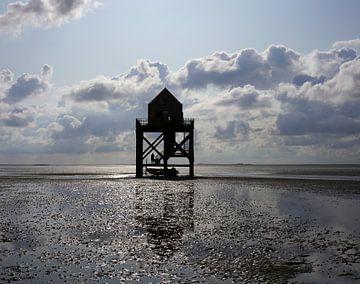 Vogelwachtershuisje op het Wad van Gerard van der Vries