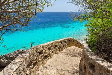 Landschap 1000 Steps als duikplek in zee op eiland Bonaire van Ben Schonewille