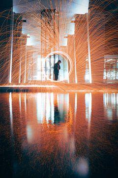 Staalwol draaien met reflectie van Robin van Steen