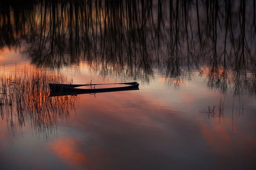 Half gezonken bootje tijdens zonsondergang van Ron van der Stappen