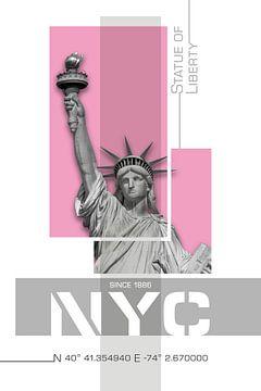 Poster Art NYC Vrijheidsbeeld | roze van Melanie Viola