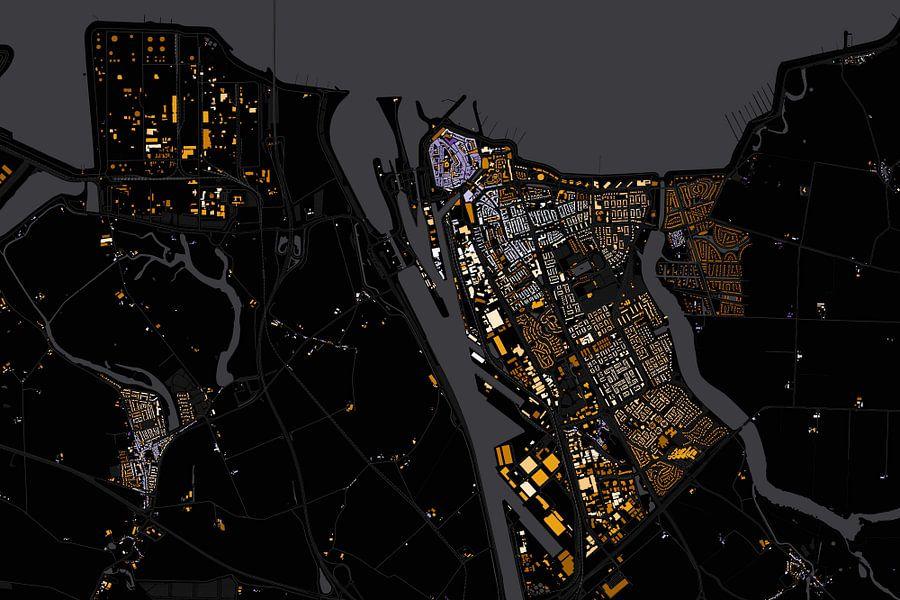 Kaart van Terneuzen abstract van Stef Verdonk