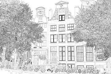 La peinture Dessin Herengracht 392 Amsterdam sur Hendrik-Jan Kornelis