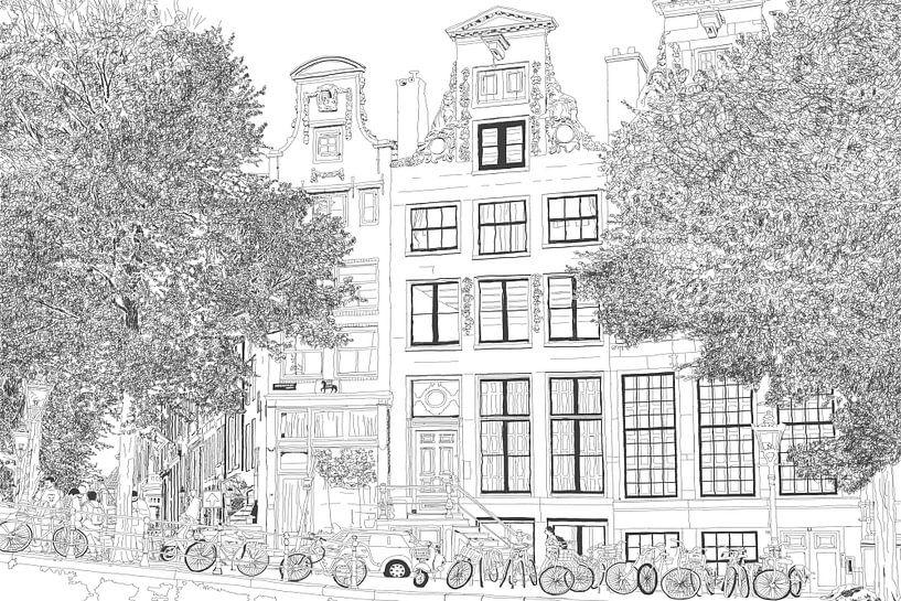 Pen Tekening Herengracht 392 Amsterdam van Hendrik-Jan Kornelis