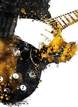 Gitarre 35 Musik Kunst schwarz und gold #Gitarre #Musik von JBJart Justyna Jaszke