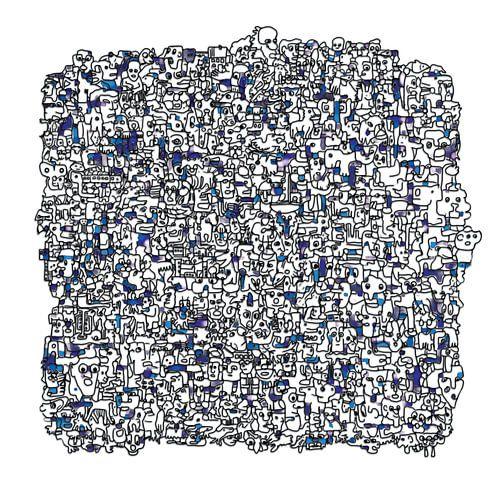 Vreemde kostgangers v1 in blauw sur Henk van Os