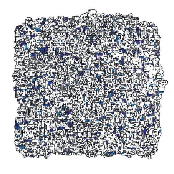 Vreemde kostgangers v1 in blauw von Henk van Os