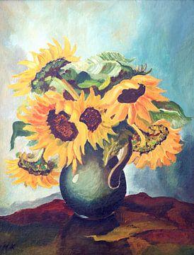 Stilleben mit Blumen in einer Vase von W J Kok