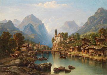 Henry Jaeckel-Landschap rijk aan decoratieve figuren