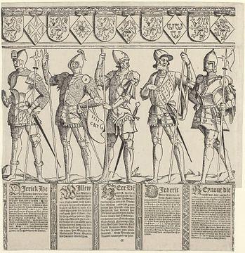 Heren van Brederode, van Zyphridus tot en met Reinout III (rechter middenblad), Cornelis Anthonisz 1