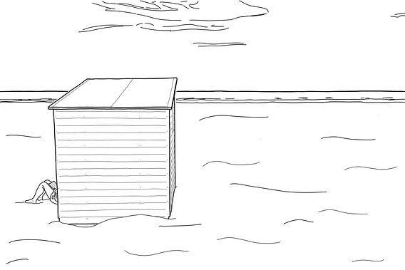Strandkabine mit verstecktem Leser