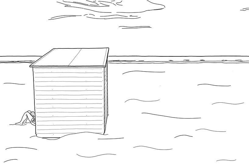 Strandkabine mit verstecktem Leser von Johan Vanbockryck
