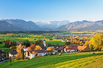 Alpenpanorama im Herbst am Riegsee, Bayern, Deutschland von Markus Lange