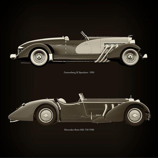 Duesenberg SJ Speedster 1933 en Mercedes-Benz SSK-710 1930