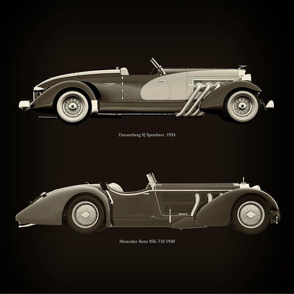 Duesenberg SJ Speedster 1933 und Mercedes-Benz SSK-710 1930 von Jan Keteleer