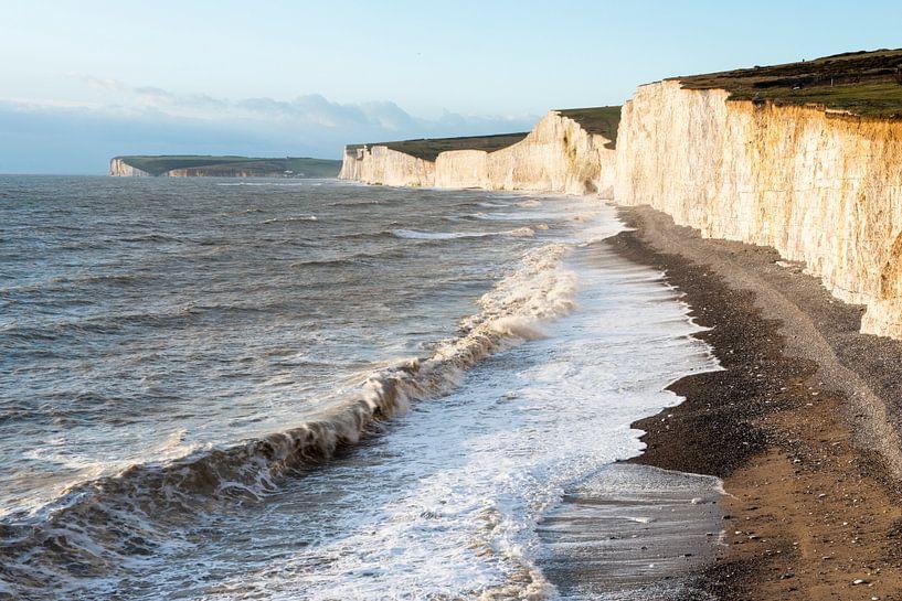 De Engelse kustlijn met de Seven Sisters, zeven tegen elkaar aan liggende krijtrotsen van Nature in Stock