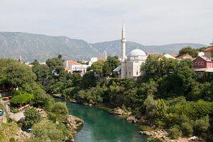 Overzicht op de moskee van Mostar van