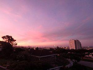 Roze-paarse lucht van