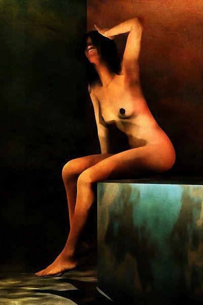 Erotisch naakt - Naakte vrouw die geniet van het gevoel van water op de blote huid van Jan Keteleer