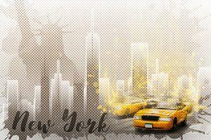 Graphic Art NEW YORK Mix No. 6 | brown and yellow | splashes