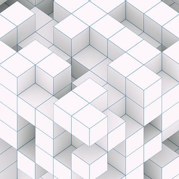Blue Edge Cubes van Jörg Hausmann