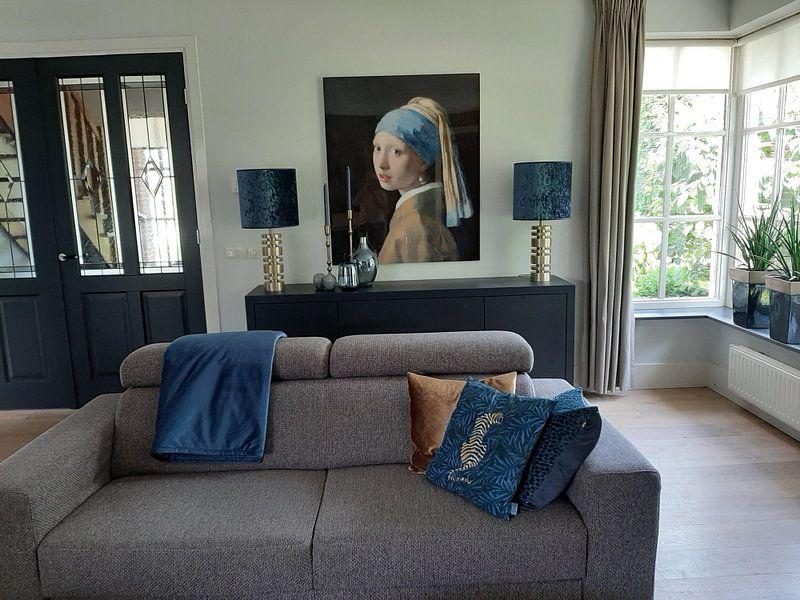 Klantfoto: Meisje met parel - Meisje van Vermeer - Schilderij (HQ), op aluminium