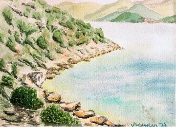 Stenen huis op Thasopoula - Griekenland - aquarel geschilderd door VK (Veit Kessler) 1974