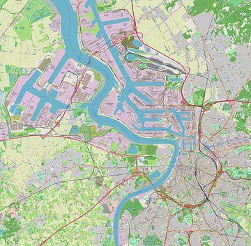 Kaart van stad en haven van Antwerpen van Atelier Liesjes