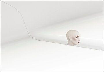 Minimalistisch wit met hoofd van