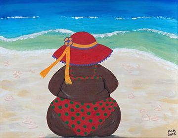 Dikke dame aan het strand sur