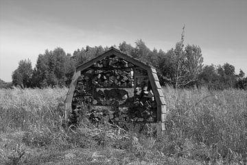 Holzlager in Schwarz und Weiß von Jose Lok