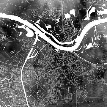Nijmegen Stadskaart | Zwarte Aquarel | Wandcirkel of Vierkant van Wereldkaarten.Shop
