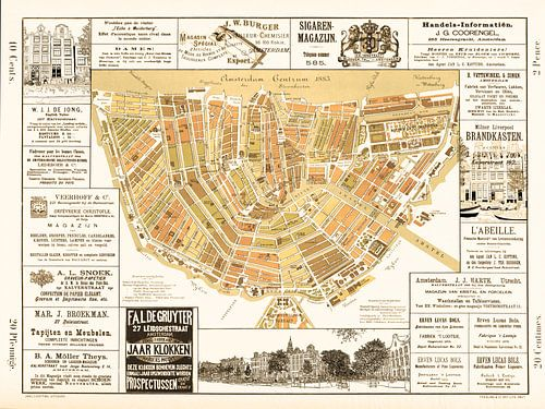 Kaarten van Amsterdam 1883 Oud