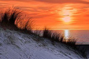 Orange Himmel bei Sonnenuntergang am Meer mit Dünen und Gras