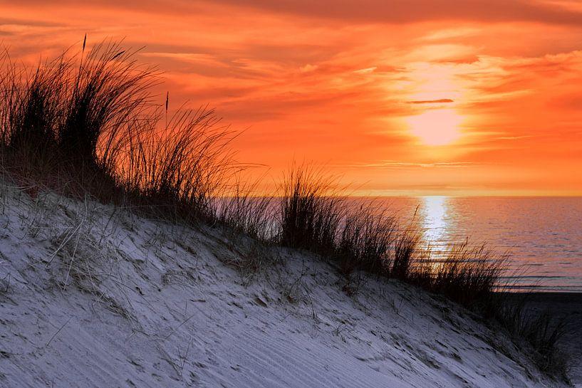 Orange Himmel bei Sonnenuntergang am Meer mit Dünen und Gras von Ben Schonewille