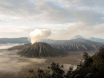 Bromo vulkaan met rookwolk op Indonesisch eiland Java van Daan Duvillier