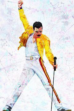 Freddie Mercury Wembley-Stadion Abstraktes Porträt von Art By Dominic