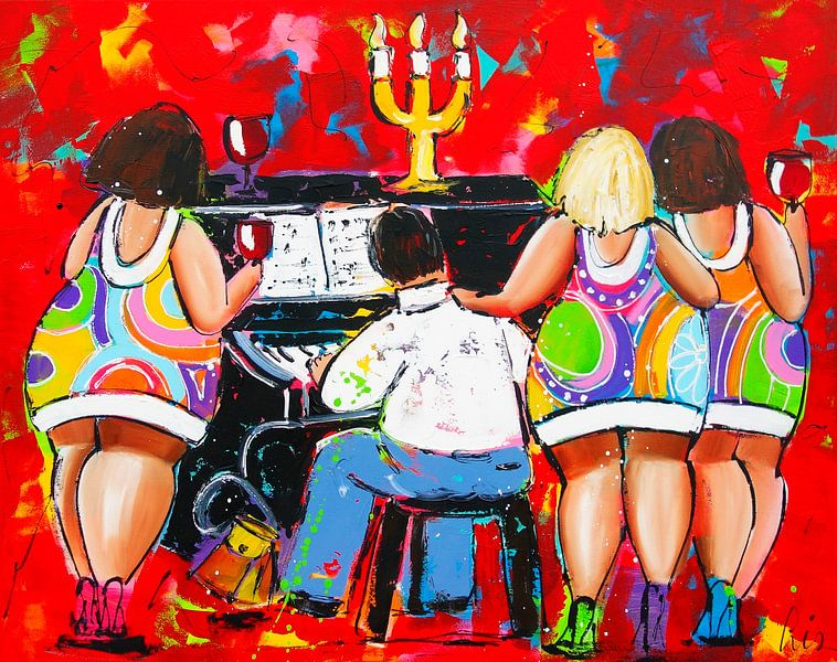 Playing the Piano van Vrolijk Schilderij