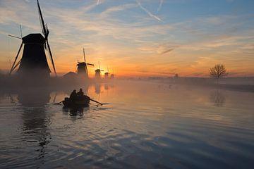 Zonsopkomst Kinderdijk, Sunrise Kinderdijk van Janneke Meijburg