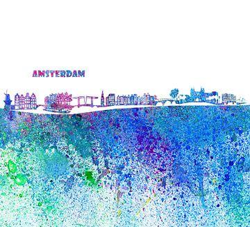 Amsterdam Skyline Silhouette Impressionistisch van Markus Bleichner