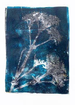 Botanische planten en insecten afdruk  Blauw van Angela Peters