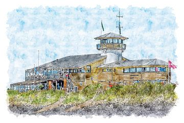 Strandpavillon Panta Rhei, Über dem Meer und der Rettungsschwimmer in Vlissingen (Aquarell) von Art by Jeronimo
