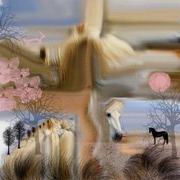 Paarden. Pastelkleur van Raina Versluis