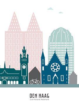 Skyline illustratie stad Den Haag in kleur van Mevrouw Emmer