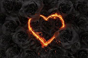 forme de coeur en feu devant des roses noires sur Besa Art