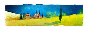 Toskanische Landschaft | Aquarell von WatercolorWall