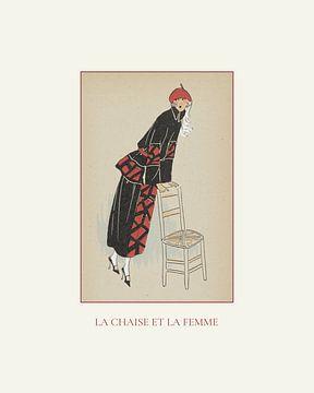 La chaise et la femme | De poserende vrouw | Historische vintage Art Deco mode prent | Retro design van NOONY